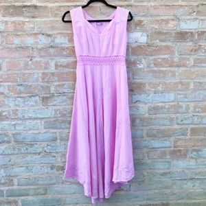 Vintage Maxi Dress 60s 70s Boho Pink Peasant Full